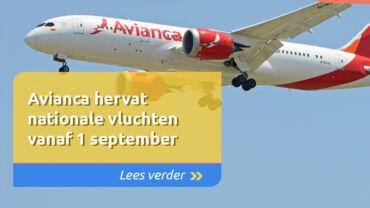 Avianca hervat nationale vluchten vanaf 1 september