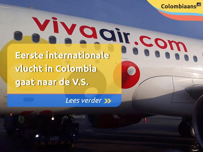 Eerste internationale vlucht in Colombia gaat naar de V.S.